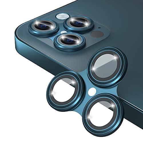 Protector de lente de cámara compatible con iPhone 12 Pro Max 6.7 pulgadas, azul Pacífico [marco de aleación] [vidrio templado] [fácil de instalar] [amigable con casos] [nueva versión]