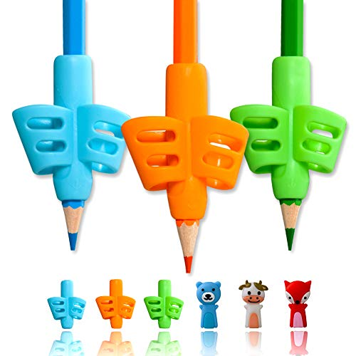 Pencil Grips, ANERZA Pencil Grips for Kids Handwriting, Writing Aid Grip for Preschoolers, Silicone Ergonomic Writing Tool, School and Homeschool kindergarten Supplies for Toddlers (3pcs)