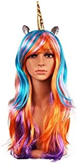 Assortment of Unicorn Wigs And Headpieces-Straight