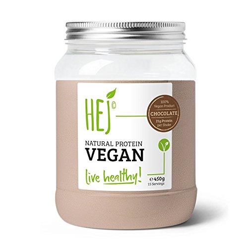 HEJ NATURAL PROTEIN VEGAN | Chocolate - 450g | Veganes Proteinpulver | Eiweiß zum Muskelaufbau | Gluten- & Laktosefrei