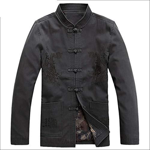 Chinesischer Drache Gedruckt Baumwollgewebe Männer Hemd Chinesische Traditionelle Männer Kleidung Drachen Bomberjacke male1 L