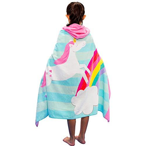 Kinder Badeponcho, 100% Baumwolle Kinder Badetuch, Strand Schwimmen Kinder Bademantel,Saugfähig schnell Trochnend Weiche Kapuzenbadetücher für Jungen und Mädchen 2-8 Jahre (Weiß Pferd)