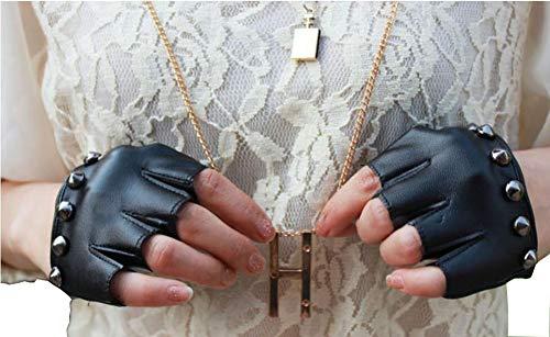 Tukistore Mujeres Punk Guantes,Guantes de Ciclismo Guantes de Dedos Fingerless La Sra Guantes Remache Medio Dedo de Cuero Teatro Fresco Punk Hip-Hop Negro,un tamaño (Electrónica)