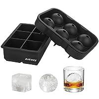 ankway set di 2 stampi per ghiaccio in silicone di grandi dimensioni, formine in silicone per cubetti di ghiaccio senza bpa, stampi per sfere & cubetti di ghiaccio per whisky, cocktail e scotch nero