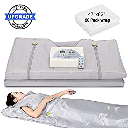 Lofan Portable Infrared Sauna Blanket, Digital Far-Infrared Heat Sauna Blanket 2 Zone, Personal Sauna for Relaxation at Home with 50 Packs Plastic Sheeting for Body Wrap,2020 Upgraded Version, Grey