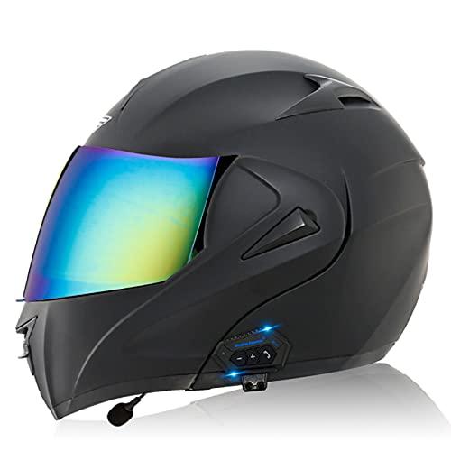 ZHANGYUEFEIFZ Casco De Moto Modular Bluetooth Integrado, ECE Homologado Cascos Motocicleta Scooter Integrado con HD Anti Niebla Doble Visera para Mujer Hombre (Color : O, Size : (M=57-58CM))