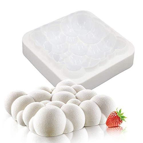 DUBENS Mousse-Kuchenform, Silikon Backform/Muffinform für Muffins, Cupcakes, Kuchen, Pudding, Eiswürfel und Gelee, Brotbackform, 3D Backformen DIY Mold (Blasen Wolke)