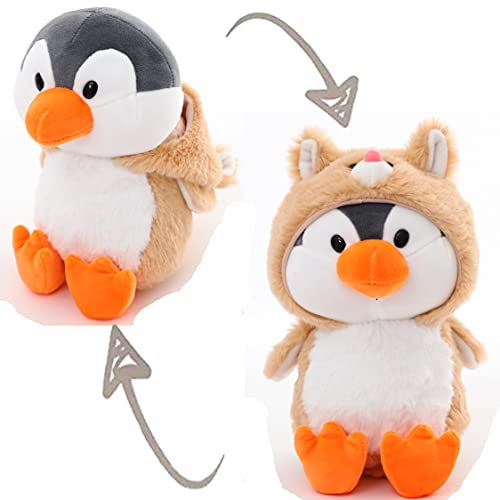 Adorable Penguin Stuffed Animals Dressed in Beige Cat Costume Plushies with Cat Outfit Cute Plush Toys for Kids Stuffed Animal Gift for Birthday, Valentine, Christmas