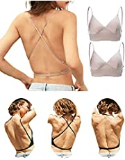 ブラジャー 背中見せ デコルテブラ 着け方色々肩・背中見せブラ ワイヤレス 着こなし レディース背中見せインナー 薄手 ドレス休暇ブラ 調節可能ダブルストラップ