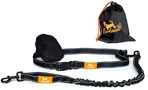 Jogging Leine - Handfreie Hundeleine für Rennen, Laufen und Wandern – strapazierfähige, elastische Bungee-Leine mit Griff für Hunde bis zu einem Gewicht von 60kg, reflektierende Nähte, 90cm lang, - anpassbarer Taillen-Gürtel (70cm bis 120cm) – Gefütterter Beutel mit 2 Fächern und Reissverschluss.