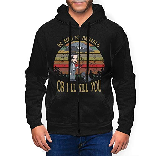 Be Kind to Animals Or I'll Kill You Pullover Midweight Crewneck Hoody for Man's with Full Zip Black