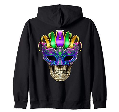 Mardi Gras Skull Mask New Orleans Louisiana (Back Design) Zip Hoodie