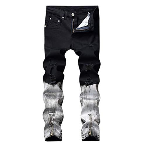 Heren vrije tijd jogger cargo chino jeans broek elastische heupriem met zakken jeans met recht gat naadkleur broek lange broek XX-Large zwart