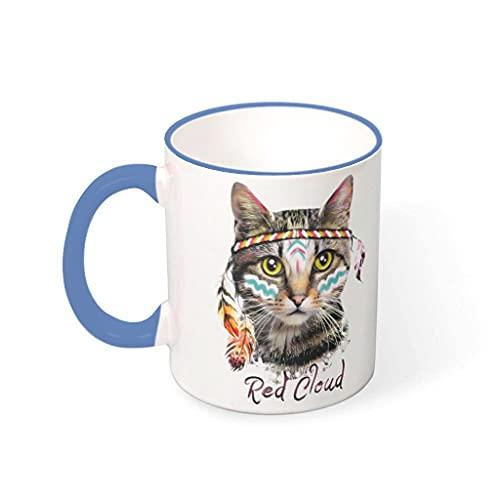 OwlOwlfan Taza de cerámica de color gato indio tazas de café divertidas taza de té con mango para el hogar oficina cumpleaños Festival regalo para niños niñas acero azul 330ml
