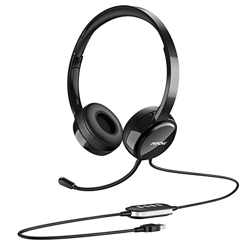 Mpow USB Headset with Noise Cancelling Mic, Lightweight 3.5mm Jack Computer Headsets for Clear Chat, Comfy Earmuffs, 7.87ft Wired Headphones for PC, Skype, Cellphone