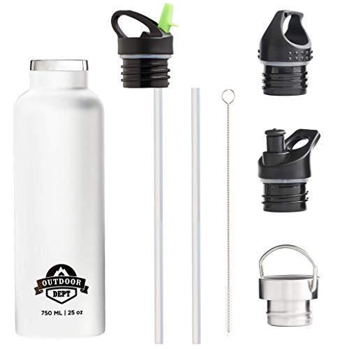 OUTDOOR DEPT Isolierte Edelstahl Trinkflasche 750 ML 4 Deckel BPA frei für Kohlensäure. Die Trinkflasche isoliert warme und kalte Getränke. Auch geeignet als Outdoor Sport Trinkflasche bzw.