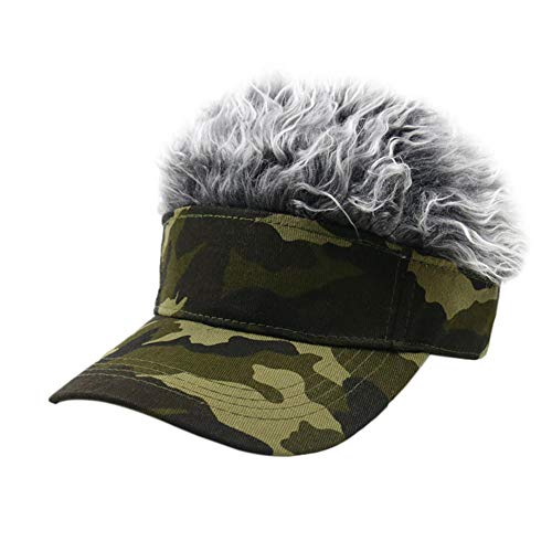 Mannen Vrouwen Wig Camouflage Baseballcap Outdoor Sport Golf Hat Zonneklep Pruik Hat Verstelbare Leisure Wig Cap,B