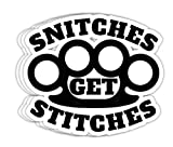 Maximili Snitches Get Stitches Funny Saying Gag Gift - 4x3 Vinyl Stickers, Laptop Decal, Water Bottle Sticker (Set of 3)