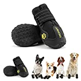 Hcpet Dog Boots Waterproof with Reflective Straps, Dog Shoes for Small Medium Large Puppy Outdoor Paw Protectors 4Ps