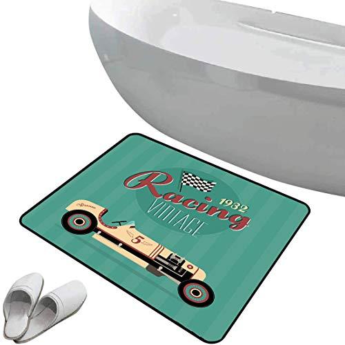 Rutschfeste Badezimmermatte Autos Weicher, rutschfester Badteppich Plakat-Druck einer klassischen antiken Maschine der Weinlese-Automobil-Nostalgie-Sammlung,aquamarine karminrote Creme, Für Dusche Fuß