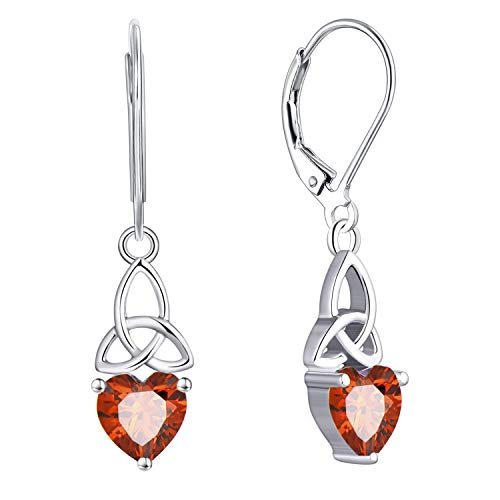 JO WISDOM Women Earrings,925 Sterling Silver Triquetra Celtic Trinity Knot Drop & Dangle Earrings with Heart Cut 3A Cubic Zirconia January Birthstone Garnet Color