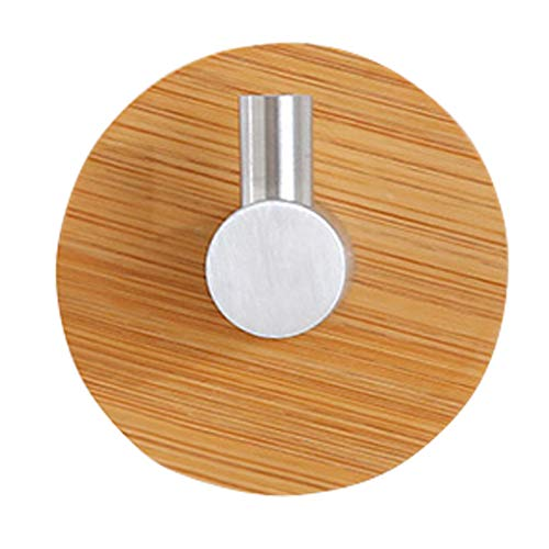 zhibeisai 1pc Adhesive Bamboo Stainless Steel Hook Kitchen Bathroom Robe Coat Hat Hanger Heavy Duty