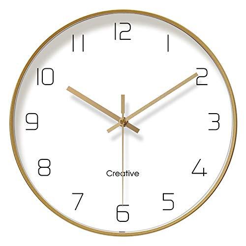 ufengke Gold Metall Lautlos Wanduhr ohne Tickgeräusche Schlicht Quarzuhr Deko für Kinderzimmer Wohnzimmer, Durchmesser 30cm