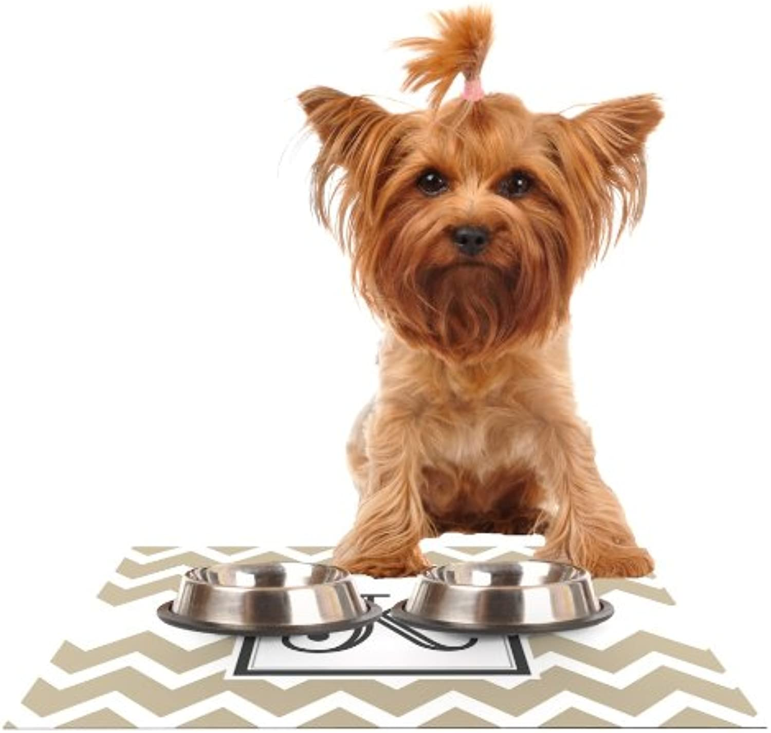 KESS InHouse KESS Original Monogram Chevron Tan Letter K  Feeding Mat for Pet Bowl, 24 by 15Inch