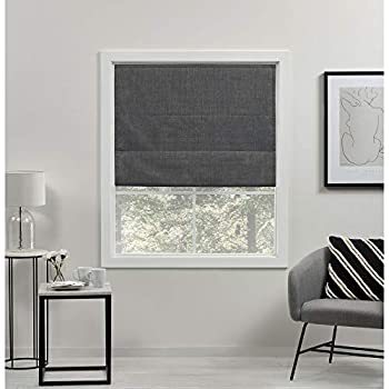 Exclusive Home Curtains Acadia Total Blackout Roman Shade 31x64 Grey