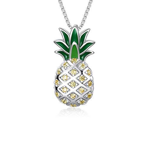 Sterling Silber Ananas Anhänger Halskette Schmuck Geschenk für Frauen Teens Mädchen (Ananas Halskette)