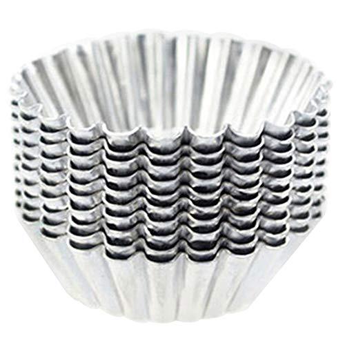 Lovejoy Store 10 Stück 7 cm wiederverwendbare Eier-Formen aus Aluminium in Blumenform Muffin Cupcake Kuchen Backförmchen Gelee Maker Backform Home Küche Backwerkzeug multi
