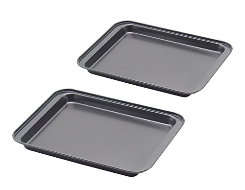 Little Small Baking Sheets Nonstick Set of two (9.5inch X 7.1inch) – SS&CC 8 Inch Nonstick Baking Toaster Oven Tray Cookie Sheets, 1 or 2 Person Household