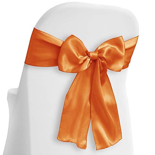 Lann's Linens - 100 Elegant Satin Wedding/Party Chair Cover Sashes/Bows - Ribbon Tie Back Sash - Orange