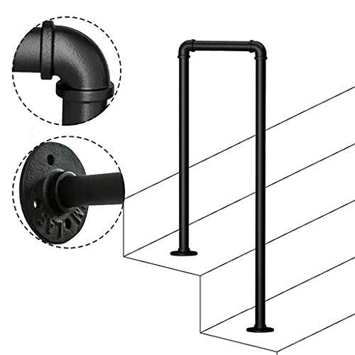 FS Handlauf for Außentreppen, U-förmiges rutschfestes schmiedeeisernes Treppengeländer aus verzinktem Rohr for die Handlauf-Haltestange des Villa Garden Channel (Size : 95cm/3.1ft)