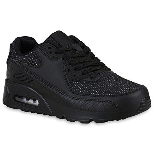 stiefelparadies Damen Schuhe Laufschuhe Glitzer Sportschuhe Profilsohle Sneaker 158512 Schwarz Glitzer 36 Flandell