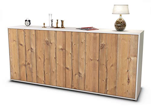 Stil.Zeit Sideboard Elana/Korpus Weiss matt/Front Holz-Design Pinie (180x79x35cm) Push-to-Open Technik