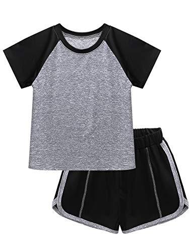 renvena Kinder Trainingsanzug Sommer Mädchen Jungen Sportanzug Kontrast Neon Schwarz Zweifarbig Kurz Jogginganzug Sportanzug 5-12 Jahre A Grau 134-140