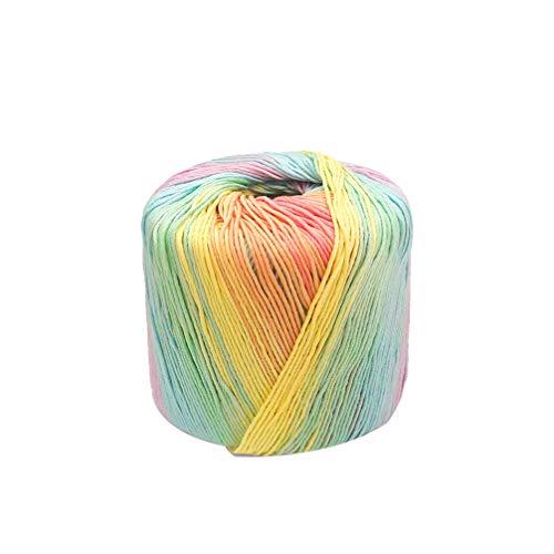 Healifty 1 Rolle Häkelgarn Strickgarn Baumwolle Farbverlauf Garn Kaleidoskop Garn für DIY Hüte Pullover Schal Handschuhe Light Rainbow