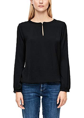 s.Oliver RED Label Damen Fabric-Mix-Bluse mit Rüschen-Detail Black 42