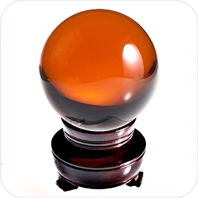 Amlong Crystal Meditation Divnation Sphere Feng Shui Crystal Ball, Lensball, Decorative Ball with Wooden Stand and Gift Box