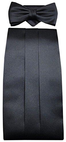 TigerTie - faja + pañuelo + pajarita de seda en negro