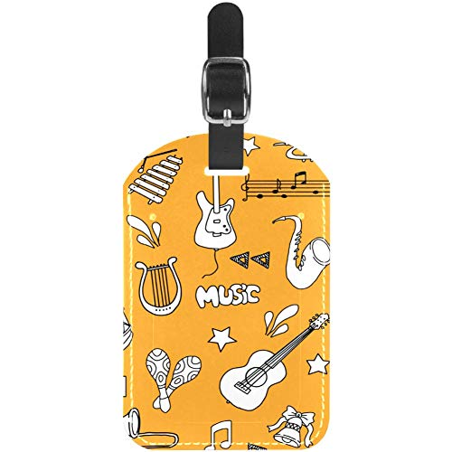 Luggage Tags Music Notes with Piano Guitar Leather Travel Suitcase Labels 1 Packs