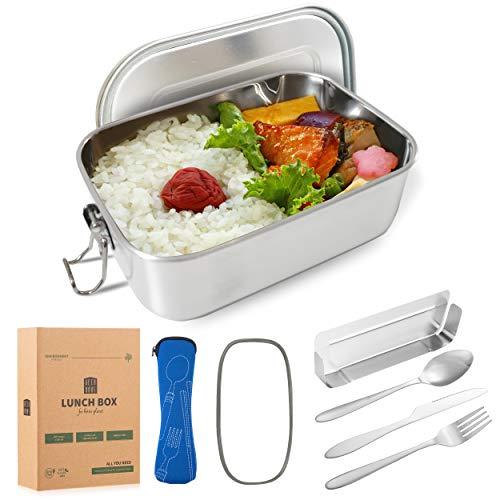 DecoHaus Praktische Edelstahl Bento Box mit Besteck und Bestecktasche 1400ml - Zero Waste Edelstahl Brotdose und Meal prep Behälter für Kinder und Erwachsene - Auslaufsichere Lunch Box mit Fächern