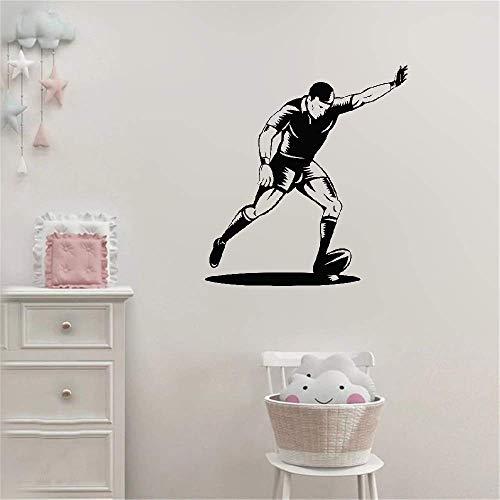 Wandtattoo Wohnzimmer Wandaufkleber Schlafzimmer Rugbyball mit Spieler Tor Kick Rugby Gym Sport für Jungen Zimmer