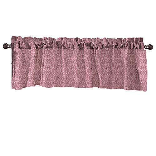 Xmiral Türvorhang Einfarbig Kurz Gardine Verdunklungsvorhang Scheibengardine mit Stangenloch 132cm x 46cm(Rosa)