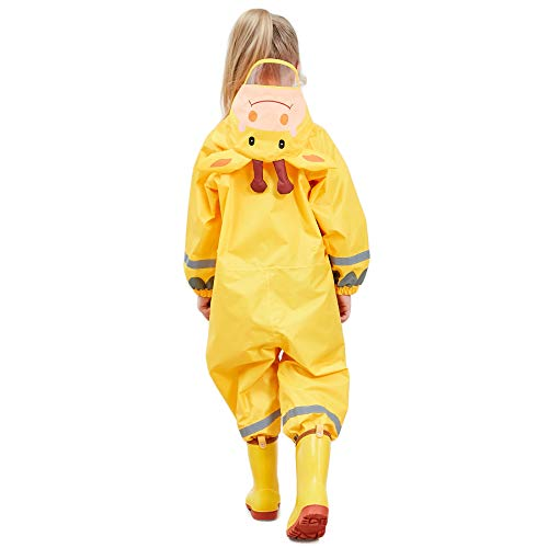 LIVACASA 3D Cute Raincoat Kids Waterproof Breathable Rainsuit All in One Puddle Suits Boys Girls Hooded Muddy Suit with Reflector Lightweight PVC Transparent Hat Brim for Kids Yellow S 3-5 Years