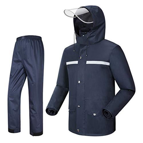 YDS Shop regenjas voor heren (jas en regenbroekpak), met capuchon, gevoerd/zware waterdicht/reflecterend strependesign, geschikt voor motorfiets, golden buiten Small