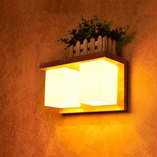 JI Gyy Home Hotel Verlichting Sierlijke Moderne Eenvoudige Deur Voorwand Lamp Japanse Stijl Effen Hout Slaapkamer Bedzijde Decoratie Spiegel Licht (Ontwerp : Dubbele Hoofd)