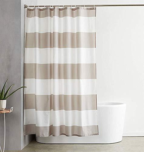 ufengke Duschvorhang Braun Gestreift mit 12 Haken Beige Duschvorhang aus Stoff Polyester Wasserdicht Anti Schimmel für Badezimmer (180X180 cm)