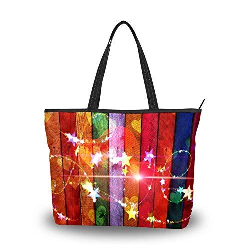 Bolsa de la compra con cremallera, diseño de estrellas de amor, arcoíris,...